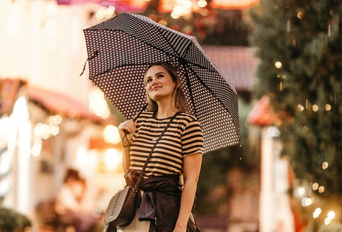 Woman With Compact Umbrella