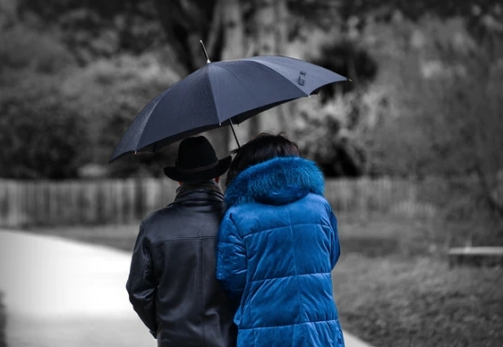 umbrella used by couple